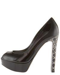 Dior - Black Cannage-heel Pump - Lyst