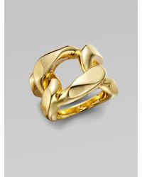 Michael Kors - Metallic Structured Chain Link Ring/Goldtone - Lyst