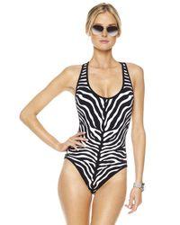 Michael Kors | Black Zebra-print Maillot Swimsuit | Lyst