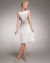 Oscar de la Renta   White Beaded Cocktail Dress   Lyst