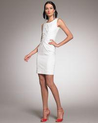 Oscar de la Renta | White Pleated-front Sheath Dress | Lyst