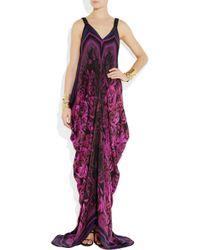 Roberto Cavalli | Purple Draped Floral-Print Silk-Chiffon Gown | Lyst