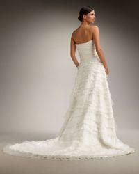 Tadashi Shoji | White Strapless Tier Gown | Lyst