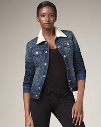 True Religion | Blue Emily Sherpa Lines Western Jacket | Lyst