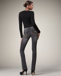 True Religion | Gray Becky Short Fuse Studded-pocket Jeans | Lyst