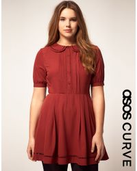 ASOS Collection | Purple Collar Dress with Faggotting Trim | Lyst