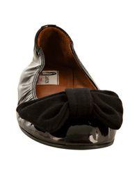 Lanvin - Black Patent Bow Ballet Flats - Lyst
