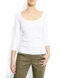 Mango - White Slim-fit Scoop Neck T-shirt - Lyst
