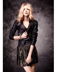 Mango | Black Biker Leather Jacket | Lyst