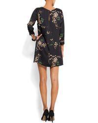 Mango - Black Ruffled Printed Dress - Lyst