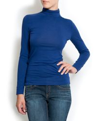 Mango - Blue Turtleneck T-shirt - Lyst