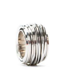 Mango - Metallic Row Set Metal Ring - Lyst