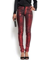 Mango | Red Jeans Metallic Effect Stiches | Lyst
