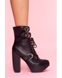 Nasty Gal - Andee Strapped Boot - Black - Lyst