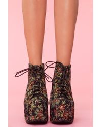 Nasty Gal | Lita Platform Boot - Black Tapestry | Lyst