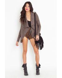 Nasty Gal | Brown Draped Knit Jacket - Mocha | Lyst