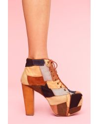Nasty Gal | Brown Lita Platform Boot - Patchwork | Lyst