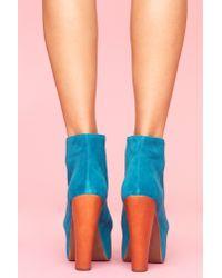 Nasty Gal - Blue Lita Platform Boot - Turquoise Suede - Lyst