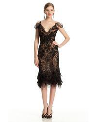Oscar de la Renta | Black Feather Hem Dress | Lyst