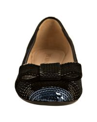 Prada | Blue Cobalt and Black Sequin Bow Flats | Lyst