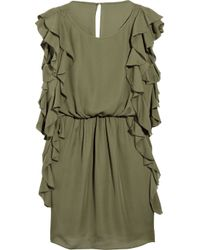 Tibi | Green Silk Ruffle Dress | Lyst
