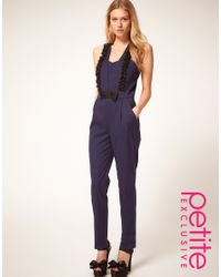 ASOS Collection | Blue Asos Petite Exclusive Tuxedo Jumpsuit with Ruffle Detail | Lyst