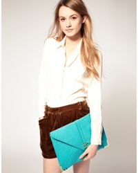 ASOS Collection | Blue Asos Slot Through Portfolio Clutch | Lyst