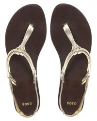 ASOS - Metallic Freestyle Leather Sandals with Toe Post - Lyst