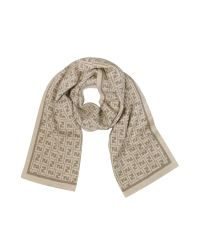 Fendi | Natural All Over Zucca Logo Jacquard Knit Wool Scarf | Lyst