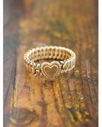 Free People | Metallic Vintage Stretch Heart Bracelet | Lyst