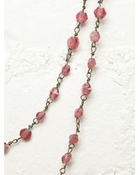 Free People - Vintage Pink Beaded Necklace - Lyst