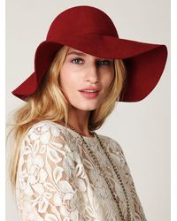 Free People - Red Jenny Floppy Hat - Lyst