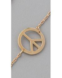 Jennifer Zeuner - Metallic Mini Peace Sign Bracelet - Lyst