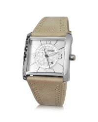 KENZO - Gray Oki- Stainless Steel Square Watch with Beige Leather Strap - Lyst
