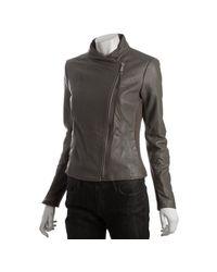 MICHAEL Michael Kors   Brown Taupe Leather Asymmetrical Zip Knit Trim Jacket   Lyst