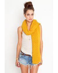 Nasty Gal - Yellow Waffle Knit Scarf - Mustard - Lyst