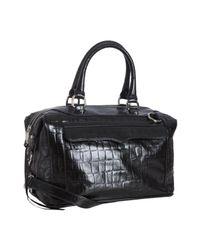 Rebecca Minkoff | Black Croc Embossed Leather Mab Satchel | Lyst