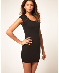 ASOS Collection | Black Asos Bodycon Dress with Mesh Inserts | Lyst