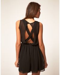 ASOS Collection - Black Asos Skater Dress with Lace Cross Back - Lyst