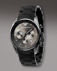 Emporio Armani - Gray Chronograph Sport Watch, Gunmetal for Men - Lyst