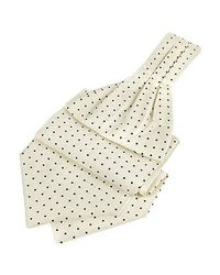 FORZIERI - White Blue Polkadot Pattern Pure Silk Ascot for Men - Lyst