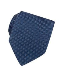 FORZIERI | Blue Solid Mini Squares Patterned Silk Tie for Men | Lyst