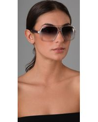 Gucci - Blue Oversized Aviator Sunglasses - Lyst