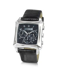 Just Cavalli | Blade - Black Croco Leather Strap Chrono Watch for Men | Lyst