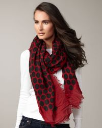 Marc Jacobs | Black Large Dotted Cashmere-silk Scarf, Red | Lyst