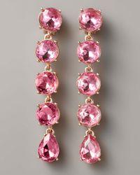 Oscar de la Renta - Pink Crystal Drop Clip Earrings, Rose - Lyst
