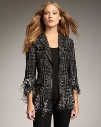 Royal Underground | Black Leather-trim Boucle Jacket | Lyst
