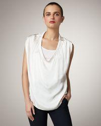 Vince | White Sleeveless Silk Blouse | Lyst