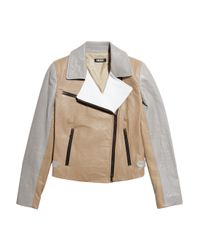 DKNY | Brown Color-block Leather Biker Jacket | Lyst