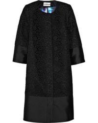 Erdem | Black Morgan Lace and Satin-twill Coat | Lyst